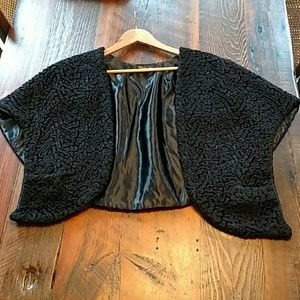 Vintage Rare 50s Black Woven Lambswool Cape/Stole